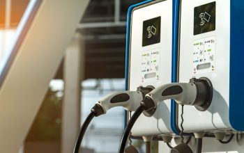 Electric Car Charging Station. Plug For Vehicle With Electric Mo