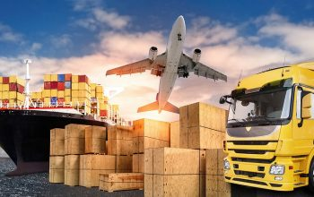 Truck airplane and ship with carrier boxes as a symbol for international trade