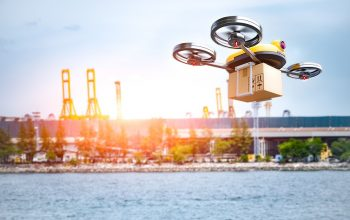 Delivery Drone Delivering Petrochemical Product From Oil Refiner