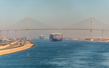 El Qantara, Egypt - November 5, 2017: Container Vessel Ships Pas