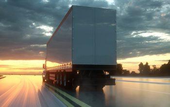 Semi Trailer. Truck On The Road, Highway. Transports, Logistics