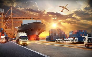 Container Truck In Ship Port For Business Logistics And Transpor